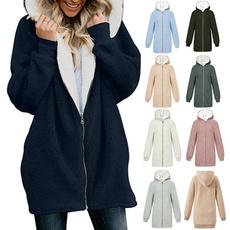 hoodedcoatsforwomen, Plus Size, women coat, fluffy