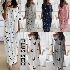butterfly, Summer, Print Dresses, long dress