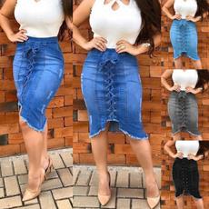 Summer, summer skirt, Encaje, Jeans
