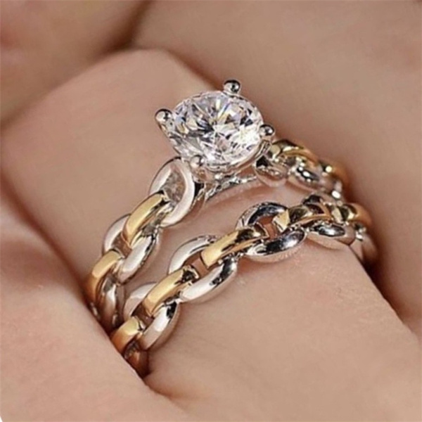 Sterling, Engagement, wedding ring, Chain
