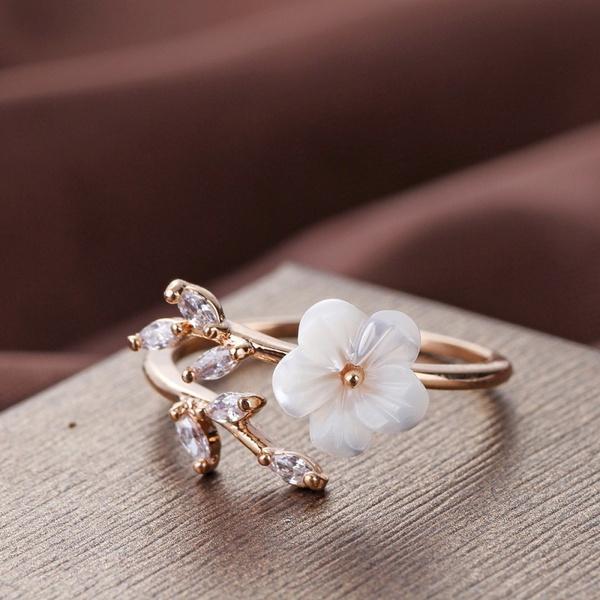 adjustablering, Flowers, wedding ring, gold