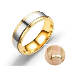 Steel, wedding ring, gold, Simple
