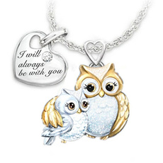 925 sterling silver necklace, Owl, Fashion Accessory, DIAMOND
