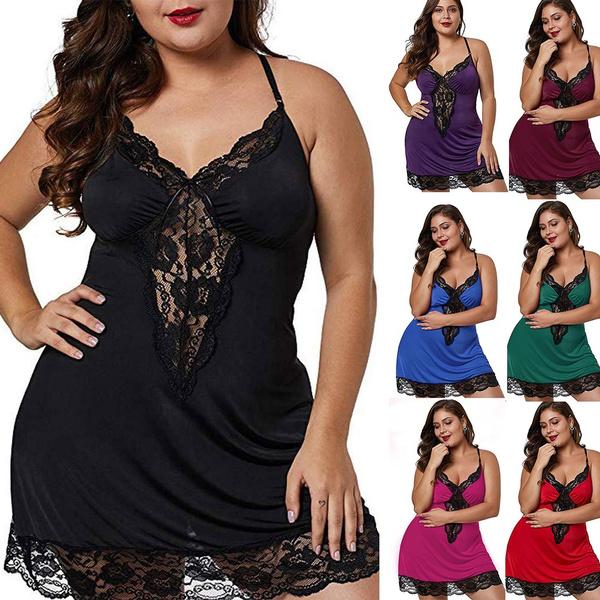 plussizenightwear, Lace, spaghettipajama, lacedresssleepwear