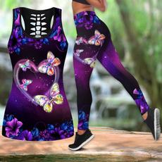 butterfly, Plus Size, sportstanktop, jogging pants for women