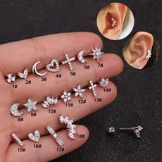 Heart, Stud, Star, Silver Earrings