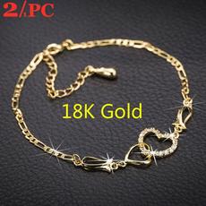 Crystal Bracelet, 18k gold, Anklets, Chain