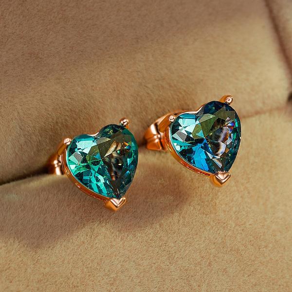 Heart, Fashion, gold, Stud Earring