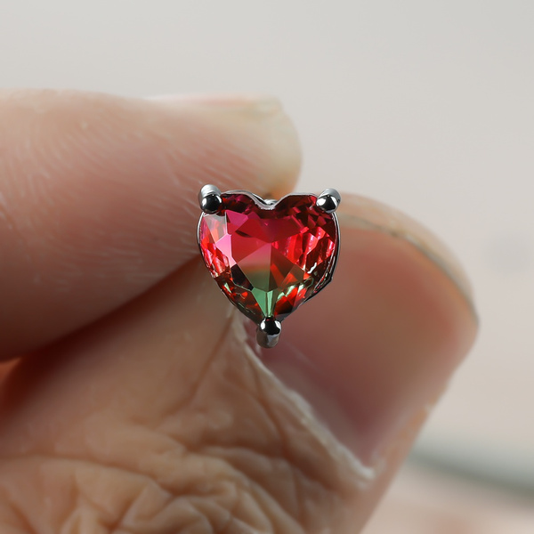 Heart, Stud, Gemstone Earrings, gold
