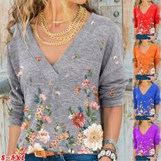 Flowers, Long sleeved, Tops, V-neck