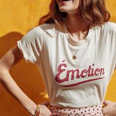 Fashion, letter print, Shirt, short sleeves