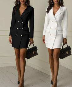 Coat, coatdres, solidthin, Double Breasted