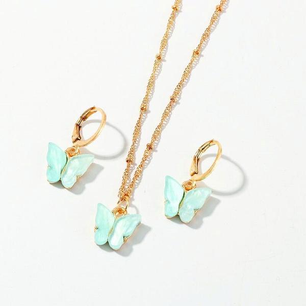butterfly, cute, Fashion, butterflynecklaceandearringsset