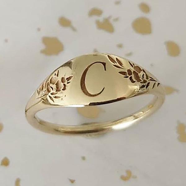 goldringsforwomen, letterring, gold, Wedding