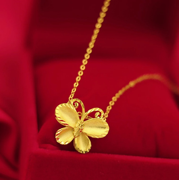 yellow gold, butterfly, Chain Necklace, 18k gold