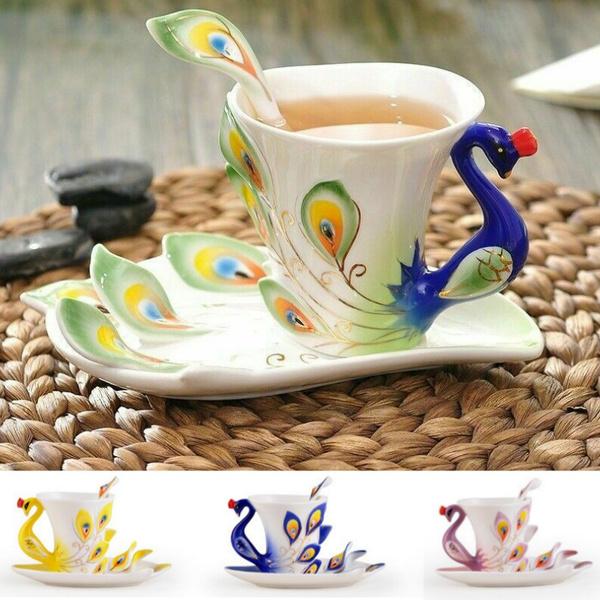 peacock, peacockceramicmug, coffeecupset, Colorful