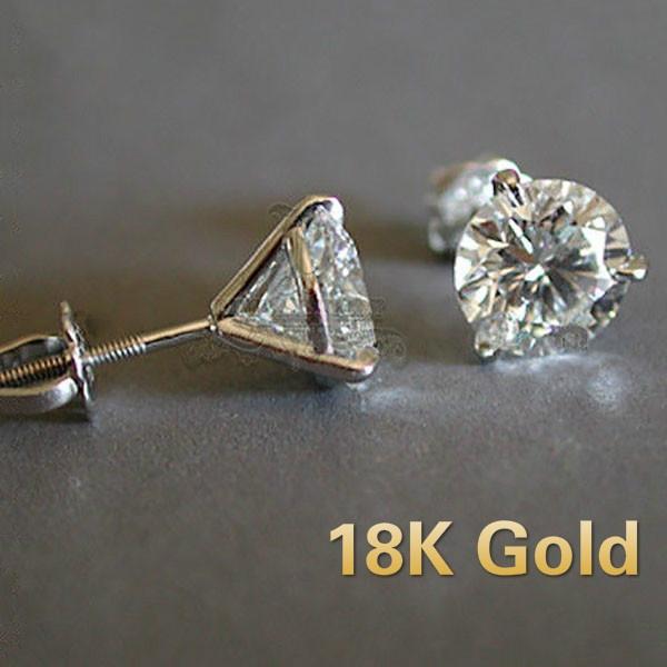 Sterling, DIAMOND, Stud, gold