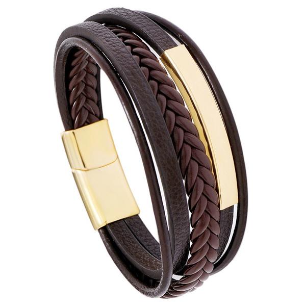 black bracelet, Steel, braceletencuir, Jewelry
