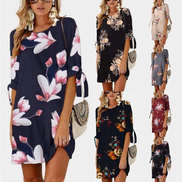 Plus Size, Floral print, short dress, Sleeve