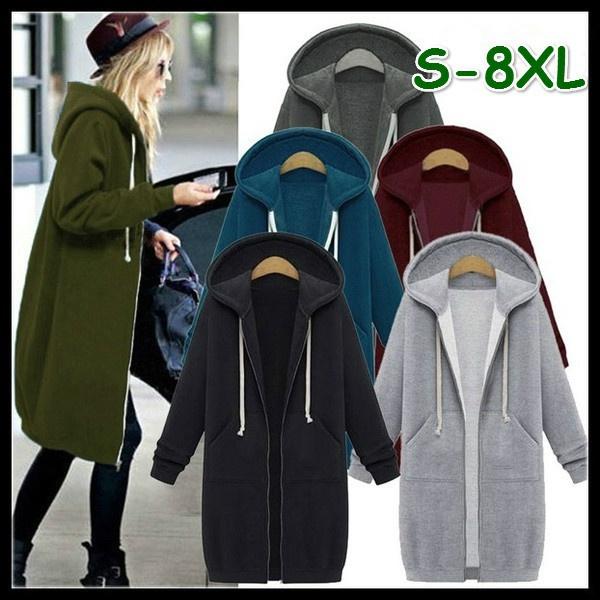 zippersweater, hooded, Winter, hoodies for women
