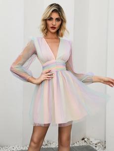 rainbow, Women's Fashion, ruffle, women's dress