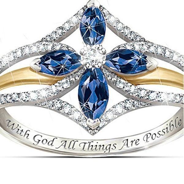 Blues, crystal ring, zirconring, ladiesring