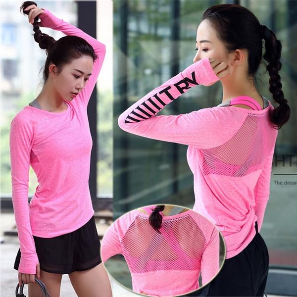 quickdryingsportswear, Fashion, womensfitnessyogatshirt, womenbreathablesportswear