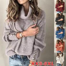 turtleneckwomen, Plus Size, knitted sweater, Long Sleeve