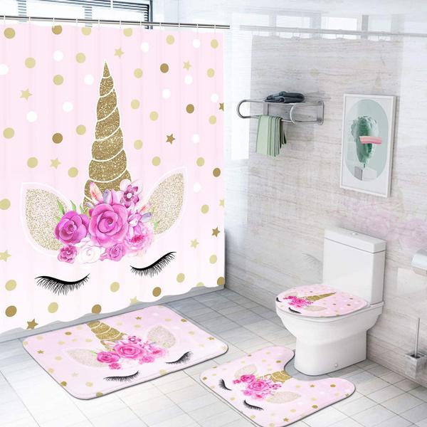 wintershowercurtainsforbathroom, pink, Bathroom, unicorn
