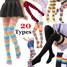 rainbow, Leggings, kneehighsock, Boots