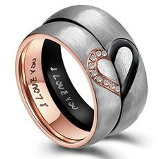 Couple Rings, Steel, DIAMOND, Stainless Steel