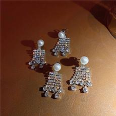 Fashion, Pearl Earrings, tasselearring, Rhinestone