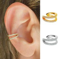 huggieearring, Hoop Earring, Jewelry, gold