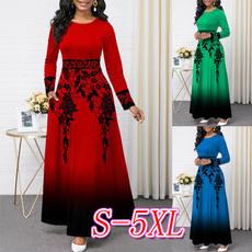 Round neck, printeddres, long sleeve dress, highwaistdres
