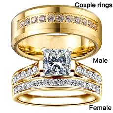 Sterling, Steel, Engagement, wedding ring