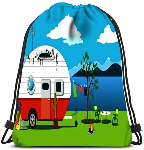 Drawstring Bags, camping, canvas drawstring bags, Vintage