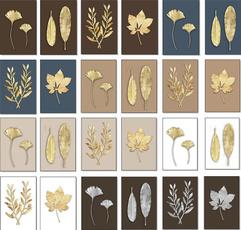 golden, Plants, Wall Art, wallpaintingdecor