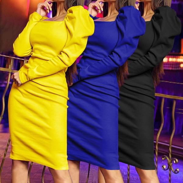 slim dress, dressesforwomen, Sleeve, long dress
