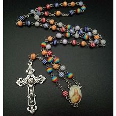 rainbow, Jewelry, pendantaccessorie, crossrosarynecklace