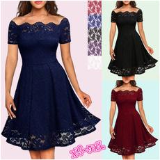 short sleeve dress, Lace, sleeve lace, Evening Dress