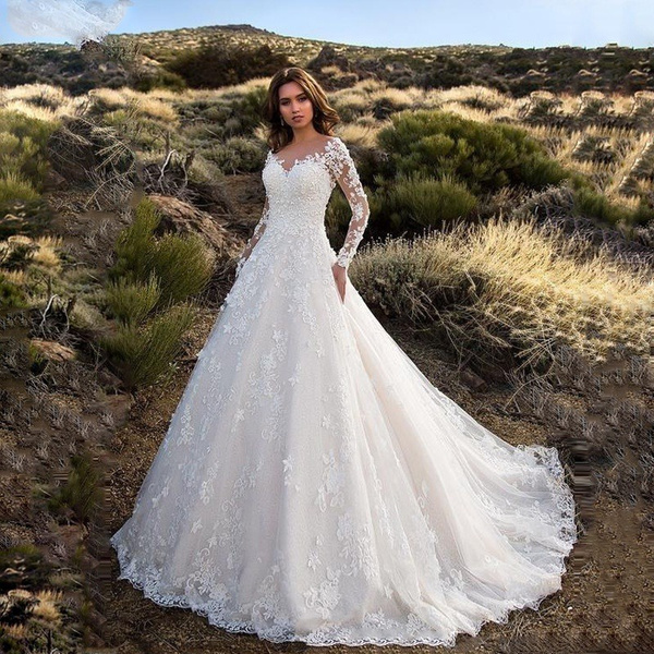 womenweddingpartydre, backlessweddinggown, Lace, Sleeve