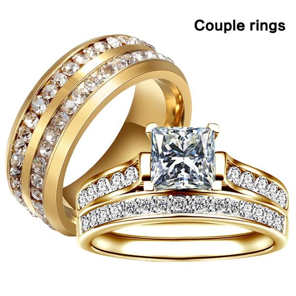 Steel, Plus Size, wedding ring, gold