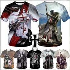 Mens T Shirt, crosse, templar, knight