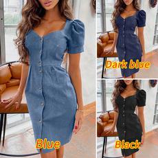 short sleeve dress, Denim, Sexy Dress, Elegant