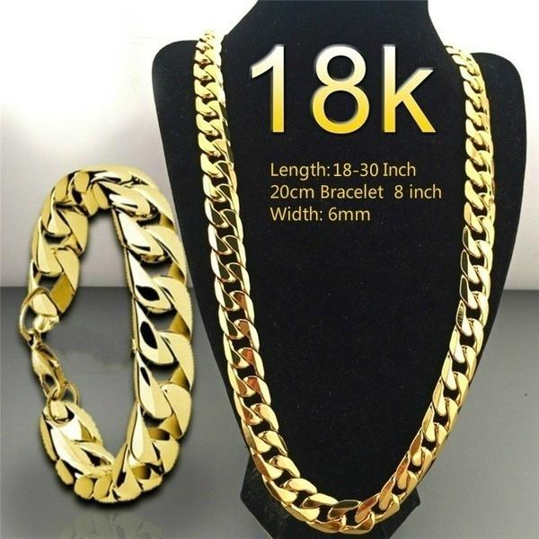 mens necklaces, mensluxurynecknecklacebraceletset, gold, gold jewelry