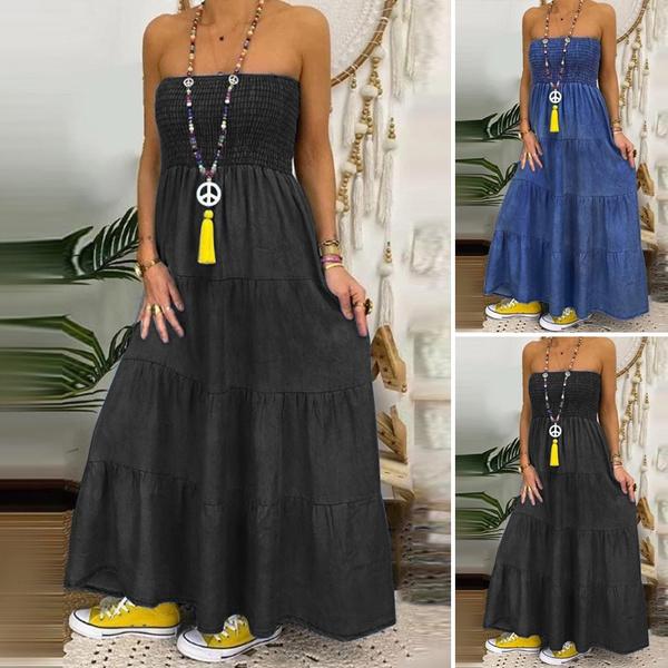 Women's Fashion, Strapless Dress, Plus Size, pleated dress