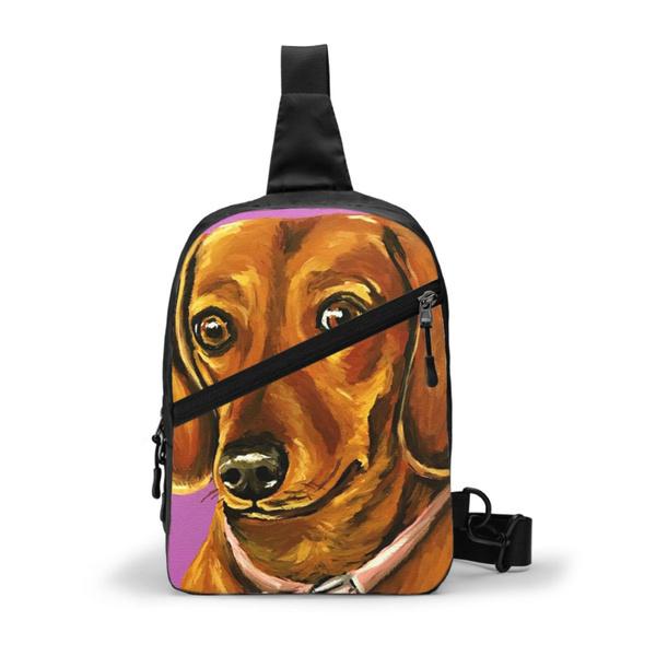 Shoulder Bags, Backpacks, watercolordaschundchestpack, shoulderbackpack
