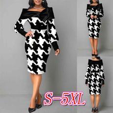 printeddres, long sleeve dress, Sleeve, highwaistdres