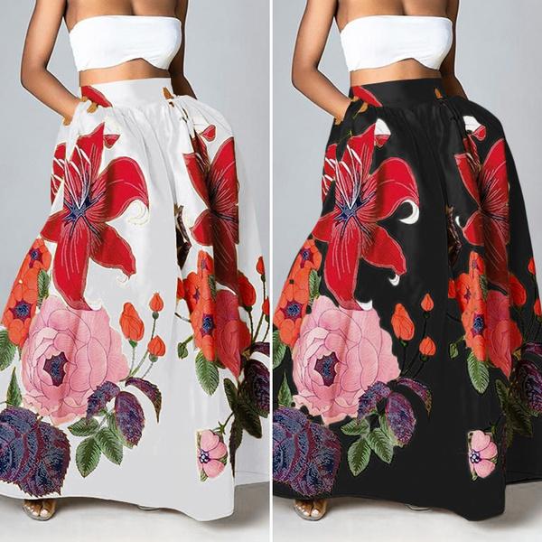 long skirt, Dress, high waist skirt, Vacation