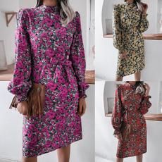 Fashion, Print Dresses, chiffon, Long Sleeve